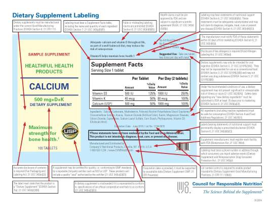 2014 January CRN Supplement labeling information